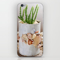 Cactus with seashells pot iPhone & iPod Skin by Shashira Handmaker