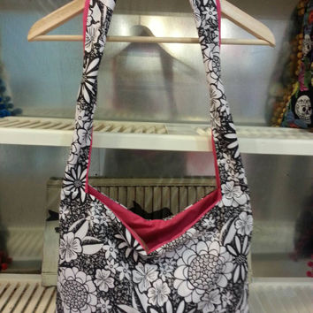 Handmade Hobo Bag in Floral and Hot Pink