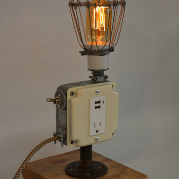 Desk Lamp Industrial Cell Phone Charger Desk Lamp Accessory Man Cave Decor USB Port Dorm Decor iPhone iPod Charger Reclaimed Maple Wood