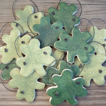 St. Patrick's Day Shamrocks  Set of 12 Salt Dough  Hanging Party Favor Ornaments