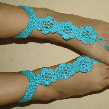 Barefoot sandals, turquoise, wedding, foot jewelry, beach party, music festivals, sexy, victorian lace, hippie,bridal shoes,crochet flowers-