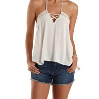 Natural Crochet & Caged High-Low Halter Top by Charlotte Russe