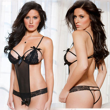Hot Deal Cute On Sale Sexy Black Bikini Lace Exotic Lingerie [11407012303]