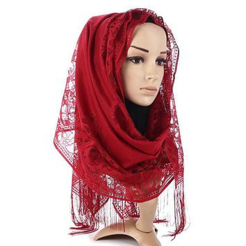 High Quality Women Lace Scarves Headhand Female Tassel Bandana Muslim Hijab Scarf Shawl Head Wrap Solid Colour LIC 10 Colours