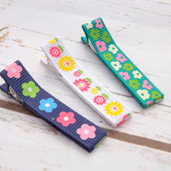 summer flower hair clips, set of three hair clips, Ribbon flower hair accessory, flower girls hair clips, uk seller