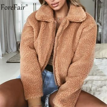 Forefair Fleece Jacket Women Female Wide Lapel Casual Teddy Cropped Bomber Jacket Winter Ladies Fur Coat