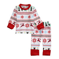 New Christmas Kids Baby Boys Girls Sleepwear Nightwear Pajamas Set Clothes 2-6 Years L08