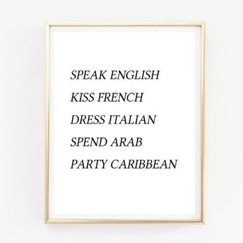 speak english quote Typographic Print Quote art print wall decor Typography family decor bedroom poster print framed quote tumblr room decor