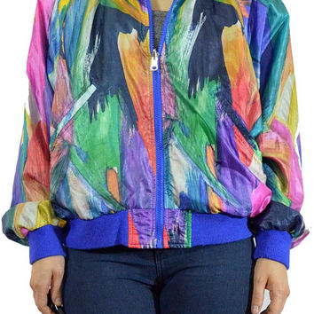 vintage 90s neon windbreaker SATIN reversible royal blue pop art colorblock neon jacket watercolor pastel grunge small