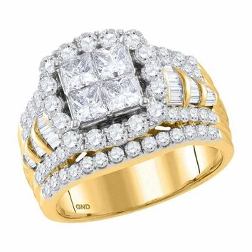 14kt Yellow Gold Women's Princess Diamond Cluster Bridal Wedding Engagement Ring 3.00 Cttw - FREE Shipping (US/CAN)