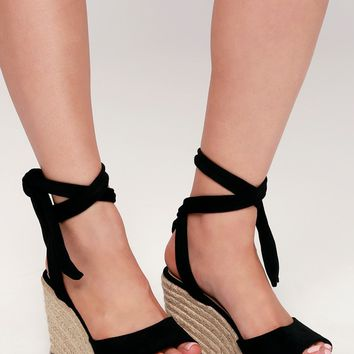 Kaila Black Lace-Up Espadrille Wedges