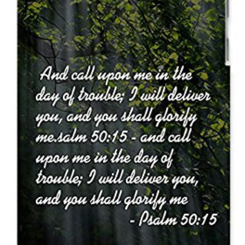 Religious Bible Verse Psalm 50:15 Bible Quote Direct-To-Case Printed (NOT A STICKER) Apple ipod 5 Ipod 5g Quality Hard Case Snap On Skin for ipod Gen 5 and 5, 5G (WHITE CASE)