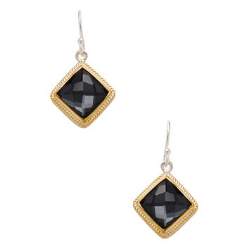 Anna Beck Jewelry Women's Hematite Doublet Tilted Square Drop Earrings