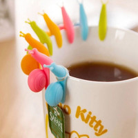 5x High Quality Funny Cute Snail Shape Silicone Tea Bag Holder Candy Colors