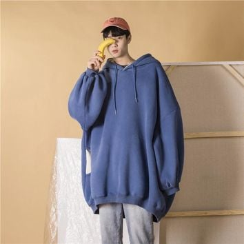 oversize Hoodie Men's Ins Super Fire And Winter Models Loose Solid Color Plus Velvet Pullover Men Blue M-XL