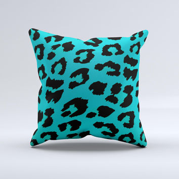 Hot Teal Vector Leopard Print Ink-Fuzed Decorative Throw Pillow