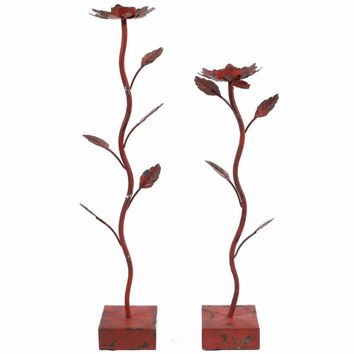 Amazing Flower Candle Holders, Set of 2, Red