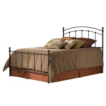 Queen size Metal Bed with Rounded Posts in Antique Brass Finish