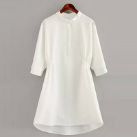 White Half Sleeve Slim Waist Dress