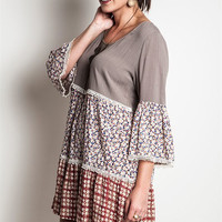 Mixed Pattern Boho Dress - Mocha - Plus