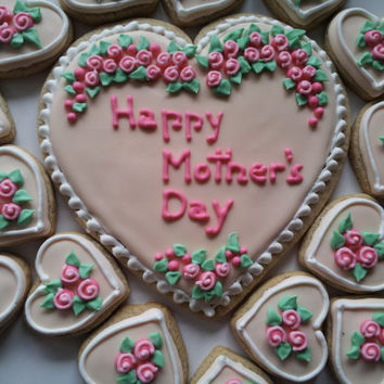 Mother's Day cookies heart shaped with royal icing