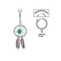 Fake Belly Navel Non Clip on Piercing Pretty Aqua lt blue Dream catcher dreamcatcher Dangle Ring