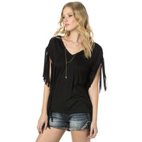 Miss Me Womens Fringe Worthy Black Side Fringe Top