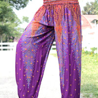 peacock pants purple stripe Thai fisherman pants palazzo pants/harem pants/elephant pants/yoga pants/pyjamas/hippie clothes/baggy pants