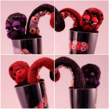 Eclectic Wedding Cake Toppers of Octopus Lovers, needle felt sculpture