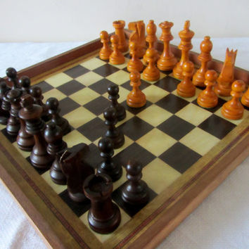 Vintage French Chess Set With Board and Wooden Box