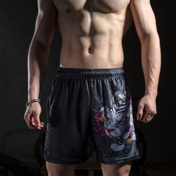 Zrce Summer Chinese Style bai hu Zipper Pocket 100% Polyester Breathable Fabric Basketball Fitness Tennis Workout Print Shorts