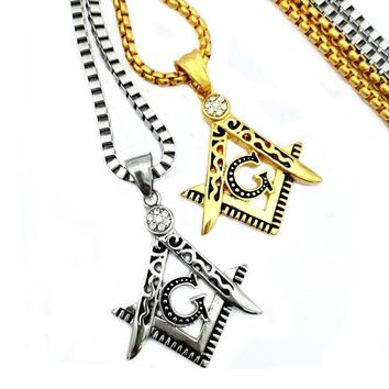 Silver or Gold Colored Freemason Square and Compass Necklace