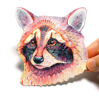 4 for 3 WINTER SALE. Raccoon wild animal sticker, 100% waterproof vinyl label.