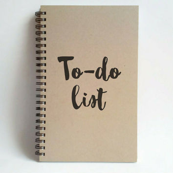 To do list, 5x8 writing journal, custom spiral notebook, personalized brown kraft memory book, small sketchbook, scrapbook