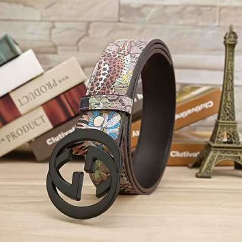 GUCCI Fashion Flower Print Contracted Smooth Buckle Belt Leather Belt G-A-GFPDPF