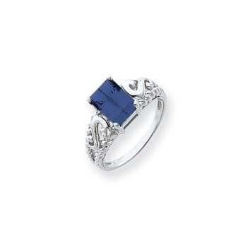 14k White Gold 8x6mm Emerald Cut Sapphire Ring