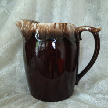 McCoy USA Pottery 7007 Brown Drip Glaze Pitcher Thumb Rest Ice Guard Vintage 1960s 70s