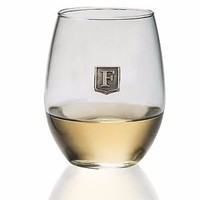Premium Monogrammed Stemless Wine Glass - Pewter Crest - Choose Your Letter