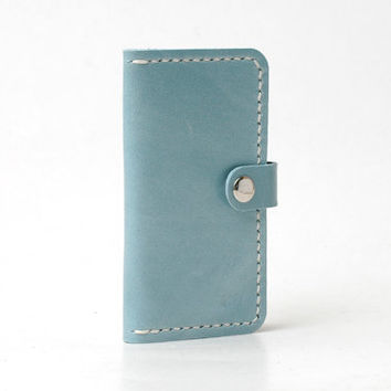 Personalized Leather Iphone 5 Case / Iphone 5 Wallet / Iphone 5s Case, Minimal, Cow Leather, Handmade Hand-stitched, Light Blue