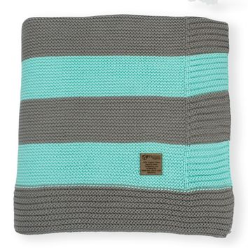 Aquamarine & Slate Grey Stripe Knit Organic Cotton Blanket