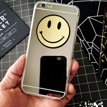 Cute Makeup Mirror Smiley Face Case Cover for iPhone 7 7Plus & iPhone se 5s 6 6 Plus +Gift Box
