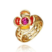 18K Yellow Gold Plated Red Swarovski Elements Crystal Fuchsia Folower Hollow Hearts Ring, Size 8