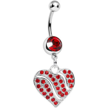 Red Gem Sparkling Rivers of Love Heart Dangle Belly Ring | Body Candy Body Jewelry