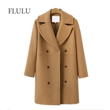 FLULU winter Fashion women coats Casual Jackets Long Sleeve Blazer Outwear Female Elegant Wool double breasted Coat