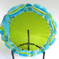 Fused Glass Plate in Spring Green with Blue and Green Decor