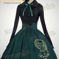"""Bookish Beauty"" Classic Lolita:Steel Boned High Waist Open Back Skirt*3color Instant Shipping"