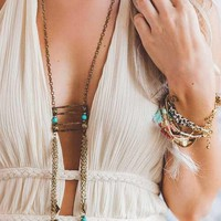 Chain Tassel Charm And Bead Detail Layered Ladder Statement Necklace