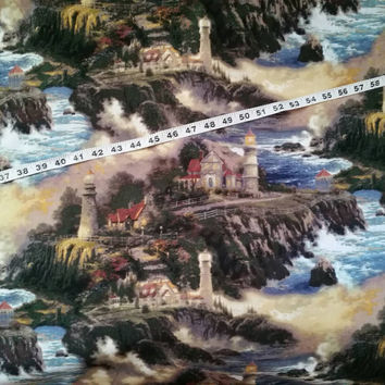 Thomas Kinkade fabric seaside seashore cliff lighthouse sea ocean cotton print quilt quilting sewing material to sew crafting by the yard