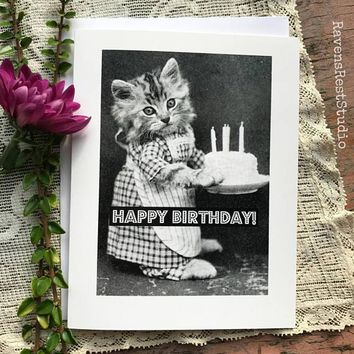 Cat With Birthday Cake Funny Vintage Style Happy Birthday Card FREE SHIPPING