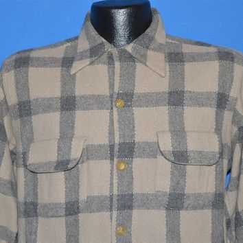 50s Gray Loop Collar Plaid Wool Flannel shirt Large